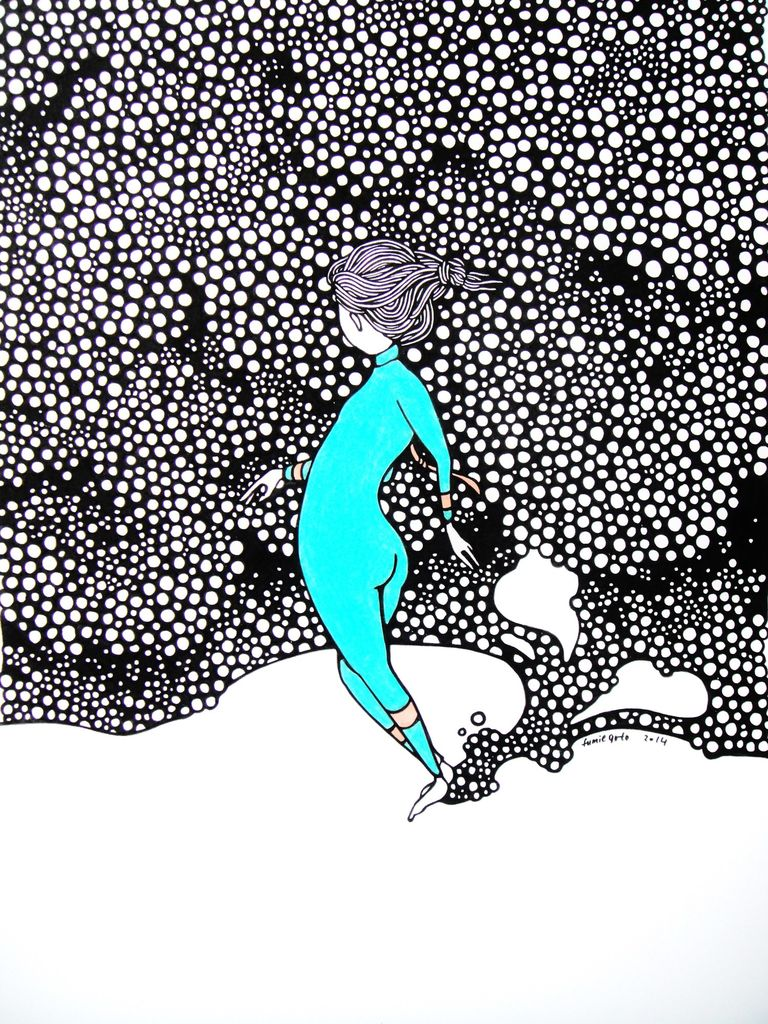 "Kris Goto Blue Nose, 11""x14"" Matted Art Print"