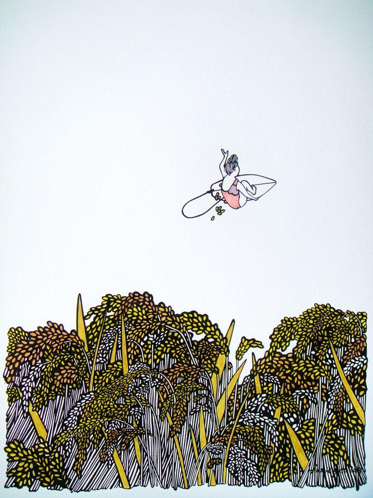 "Kris Goto Rice Air, 11""x14"" Matted Art Print"