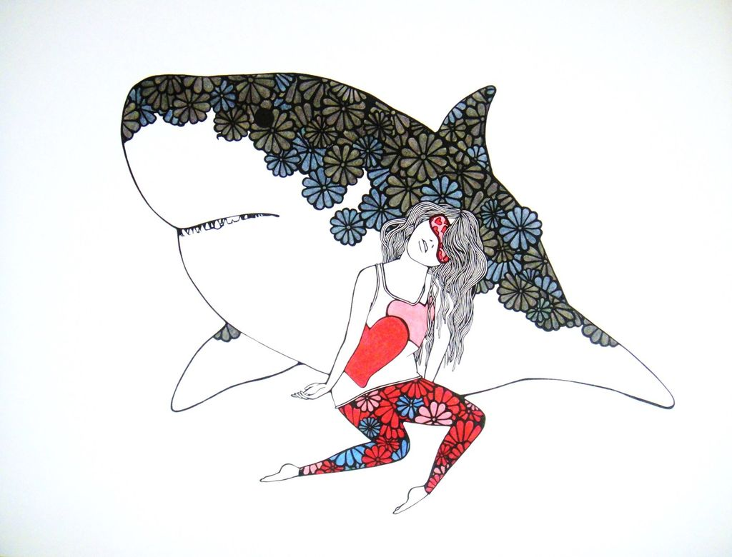 "Kris Goto Shark Love, 11""x14"" Matted Art Print"