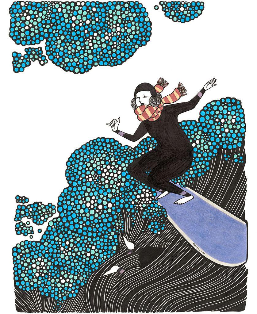 "Kris Goto Scarfy, 11""x14"" Matted Art Print"