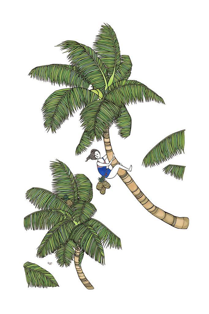 "Kris Goto Coconut Girl, 24""x36"" Art Print"