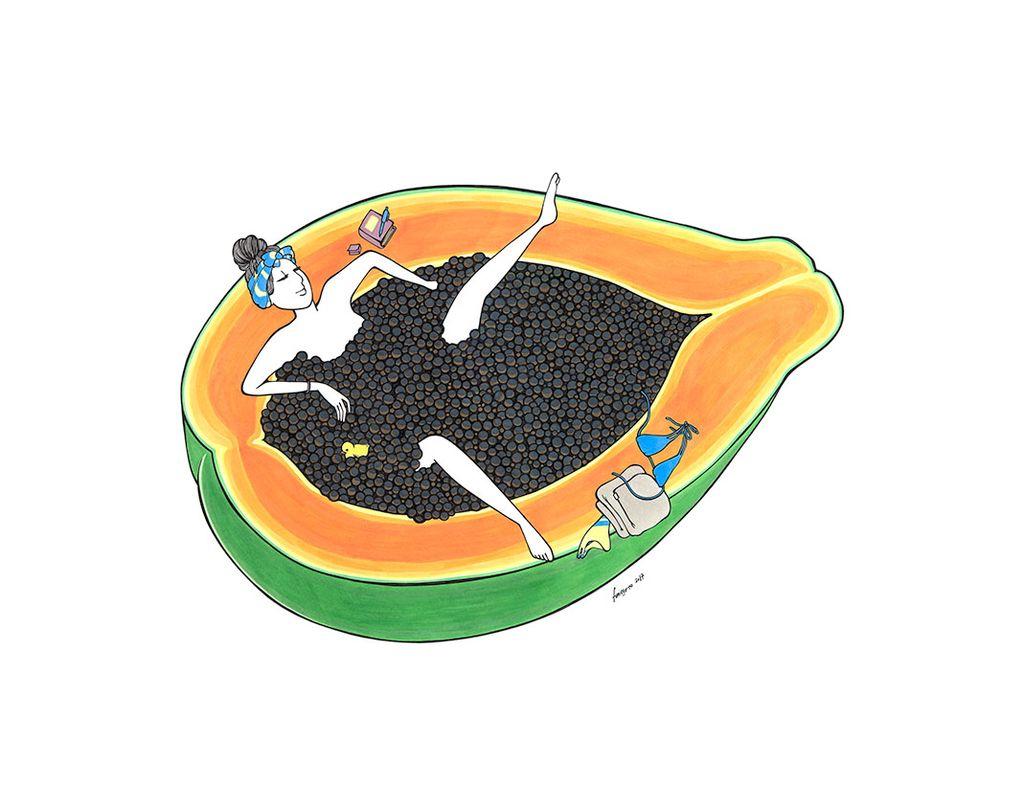 "Kris Goto Papaya Time, 11""x14"" Matted Art Print"