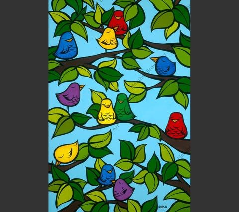 """Heather Brown BIRD TREE, 24""""X16"""" GALLERY WRAP GICLEE ON CANVAS,  LIMITED EDITION #36/250, SO17404"""