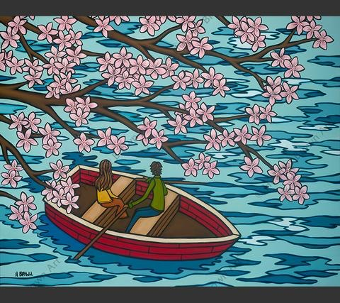 "Heather Brown LOVE AND SAKURA 16""X20"" GALLERY WRAP GICLEE ON CANVAS, LIMITED EDITION #7/250, SO13923"