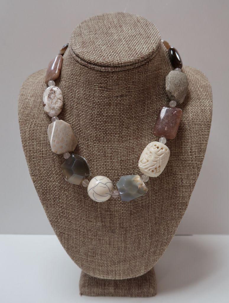 Beverly Creamer NECKLACE - Polished semi-precious stones, carved bone, onyx etc.