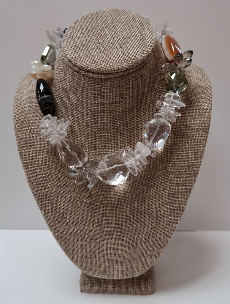 Beverly Creamer NECKLACE - Double strand with rock crystal, faceted crystals, agate & onyx