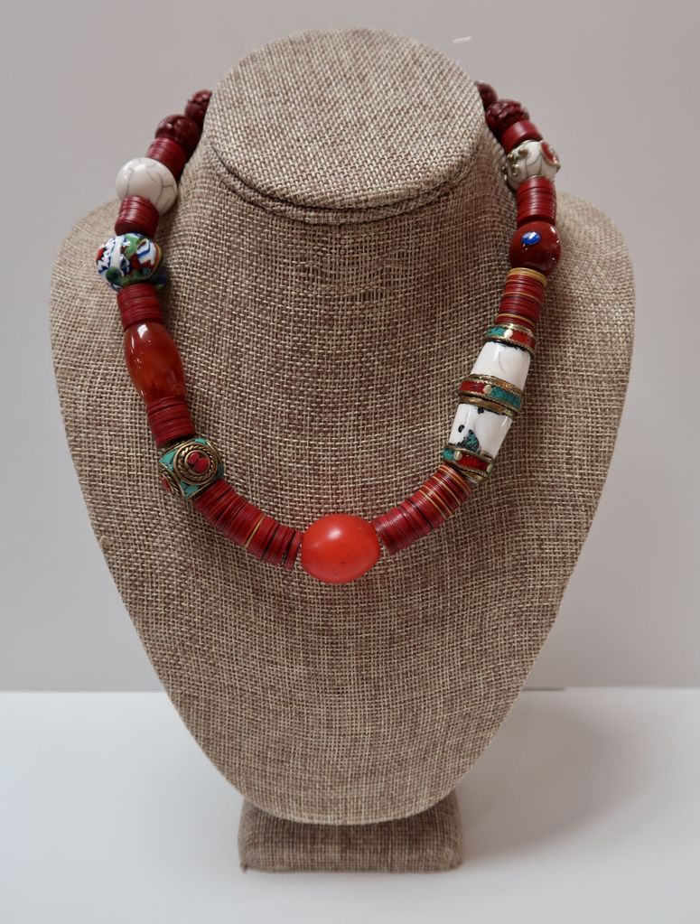 Beverly Creamer NECKLACE - Antique beads from Venice, old pieces from Nepal and discs cut from old vinyl records in Kenya, with cinnabar