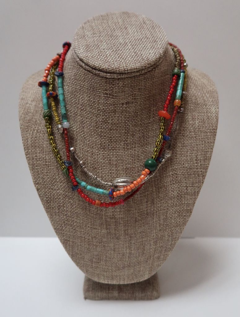 Beverly Creamer NECKLACE - UNWRAPPER 3 STRAND RED HEART BEADS, TURQUOISE, SILVER AND AFRICAN TRADE BEADS