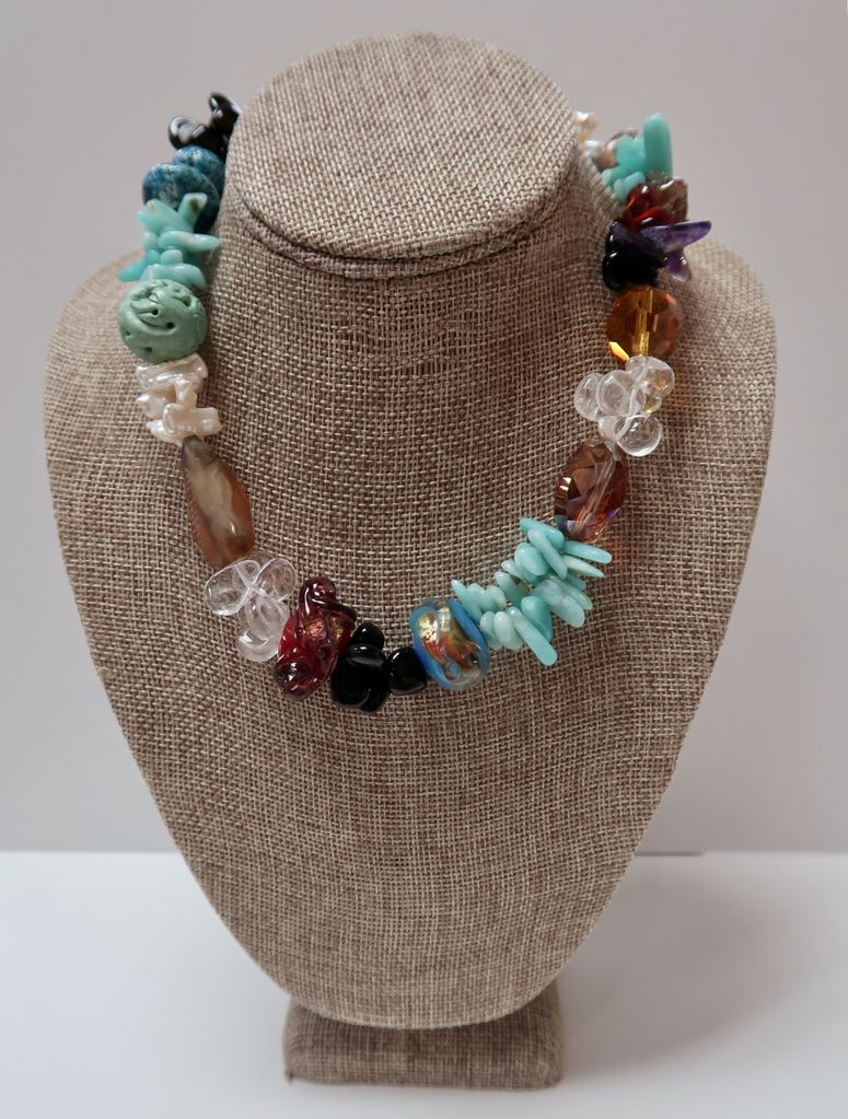 Beverly Creamer NECKLACE - With pearls, carved turquoise, handmade glass beads, agate, clay, rock crystal and carnelian