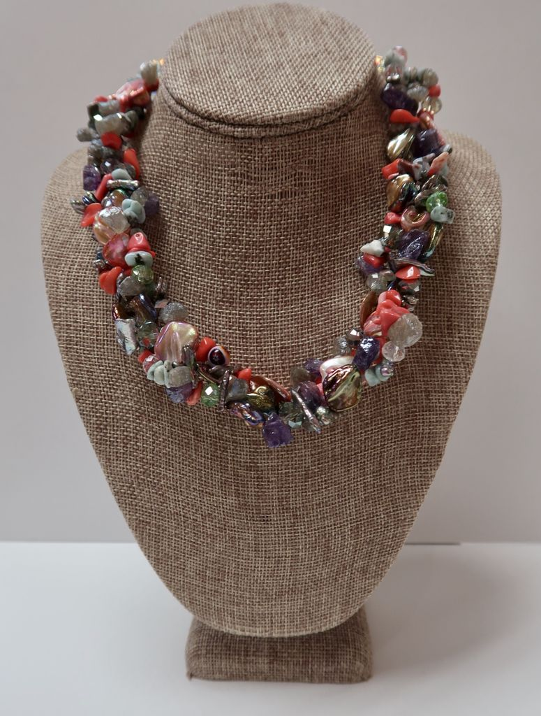 Beverly Creamer NECKLACE - Multistrand necklace w/ shell, pearls, coral crystals, amethyst and labrodite