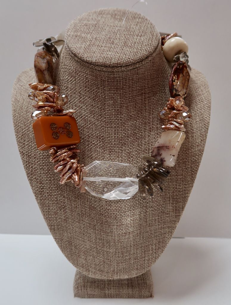 Beverly Creamer Necklace - multi-strand pearls, old mah-jong tile, crystal, faceted rock quartz, agate and amber, with sterling ends and clasp.