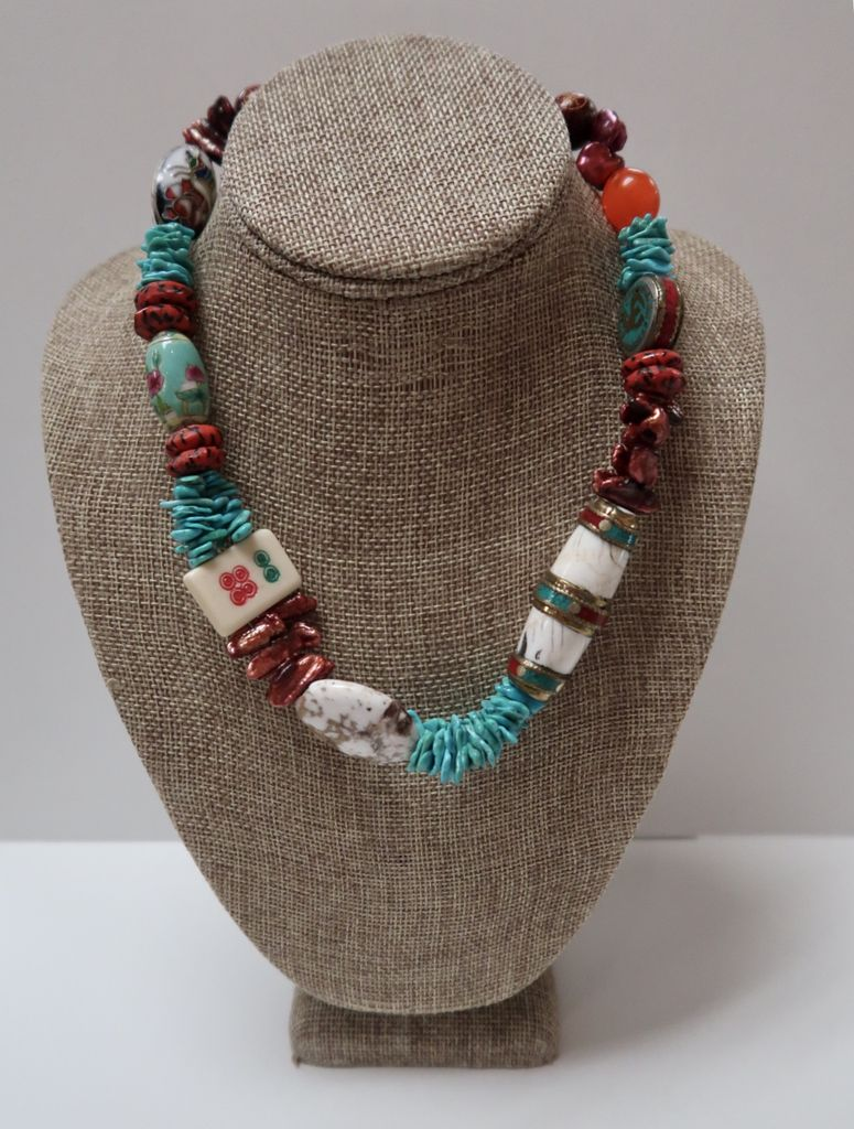 Beverly Creamer AABC4 – NECKLACE- Nepal bone, turquoise and coral bead with mah-jong tile, painted chinese porcelain, cloisonné, Japanese hand-made glass beads, pearls and  agate and 100-year-old venetian 'tomato'