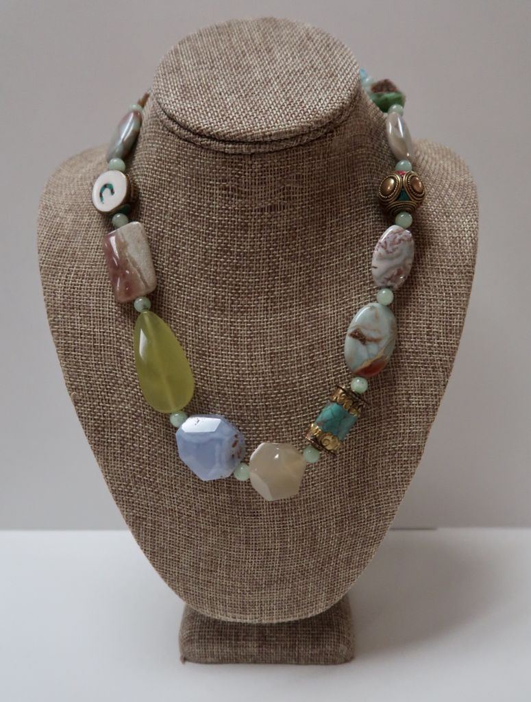 Beverly Creamer AABC6 - NECKLACE- Polished stones and Nepalese turquoise, and coral with jade, agate and crysophase