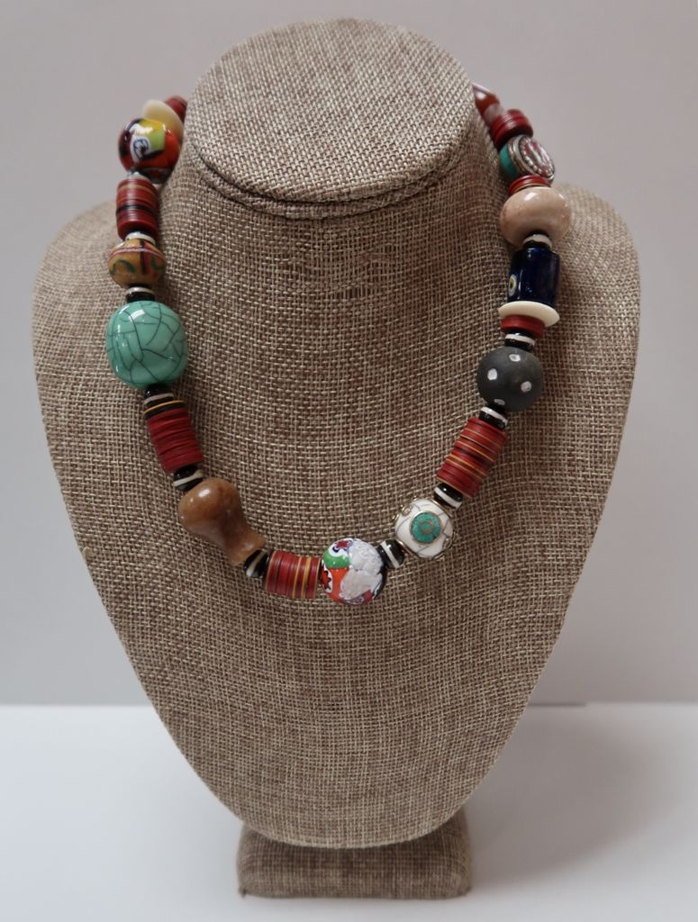 Beverly Creamer BC RD04 – Necklace - hand made beads, antique beads, Murano glass, Tibetan turquoise and coral and recycled vinyl records cut into discs in Kenya.