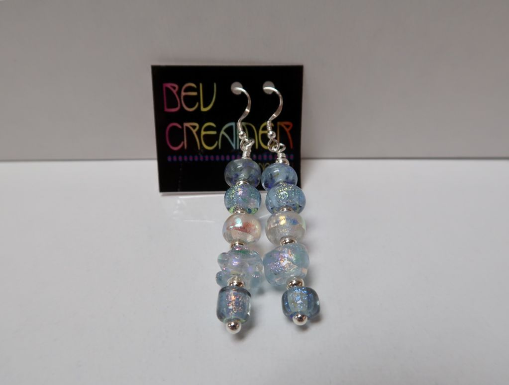 Beverly Creamer EARRINGS - DICHROIC GLASS BEADS HANDMADE BY HAWAIIAN ARTISTS, STERLING SILVER