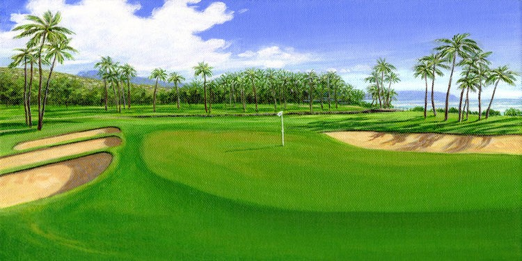 "Carol Collette WAIALAE GOLF-11""X14"" MATTED PRINT"