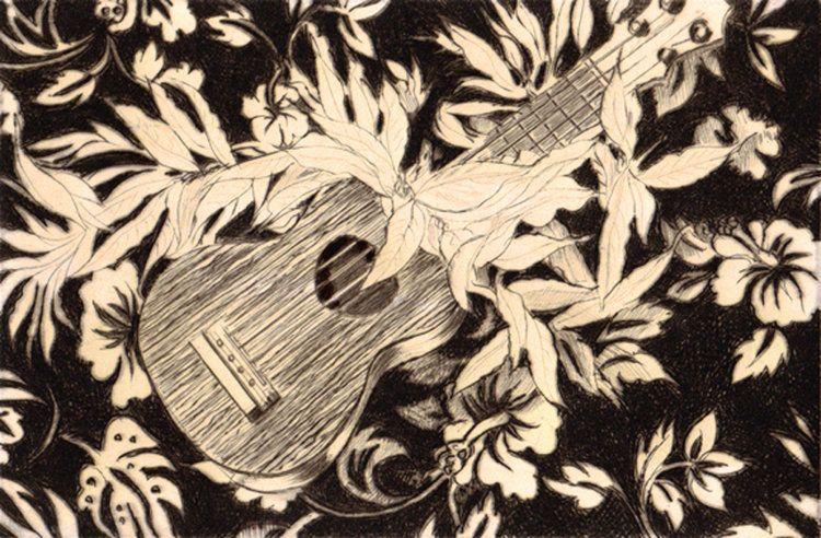 "Carol Collette Ukulele & Maile, 11""x14"" Limited Edition Drypoint Engraving"