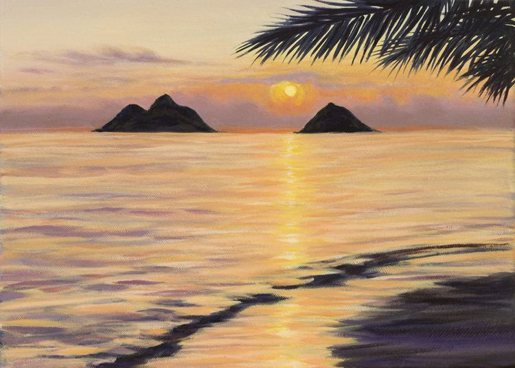 "Carol Collette Lanikai Dawn -11""X14"" Matted Print"
