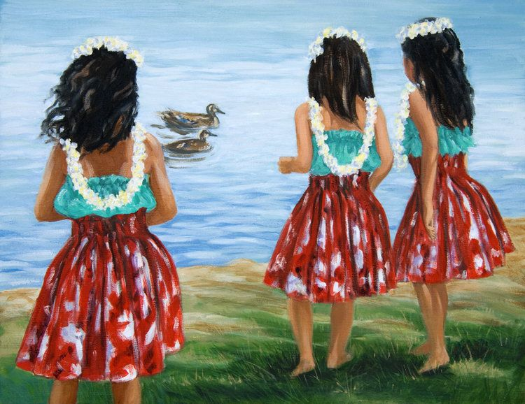 """Carol Collette Little Hula Sisters, 11""""x14"""" Matted Print"""