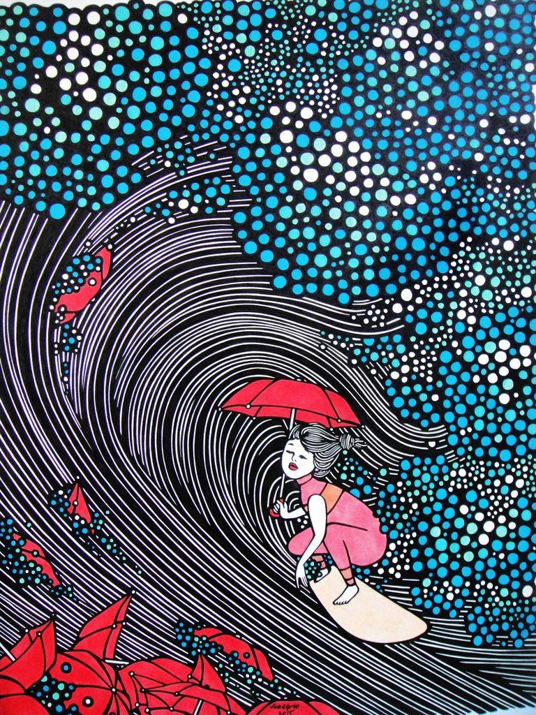 "Kris Goto Umbrellas, 11""x14"" Matted Art Print"