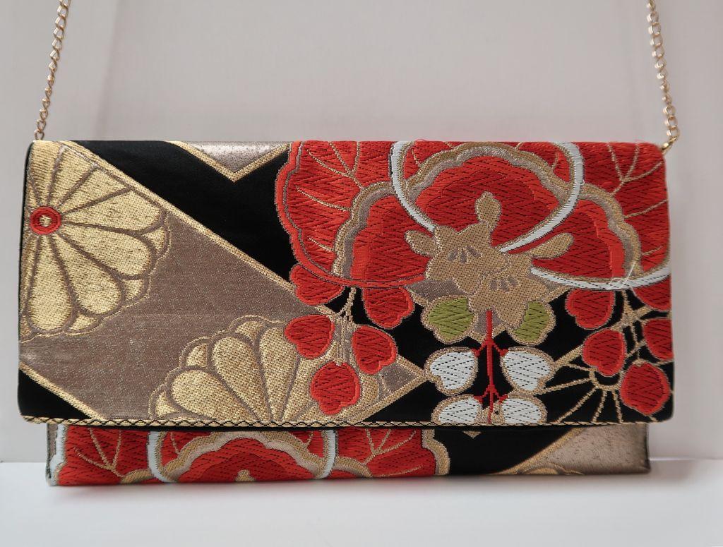 Leina Aonuma GOLD/BLACK ORANGE STRAIGHT FLAP: OBI CLUTCH