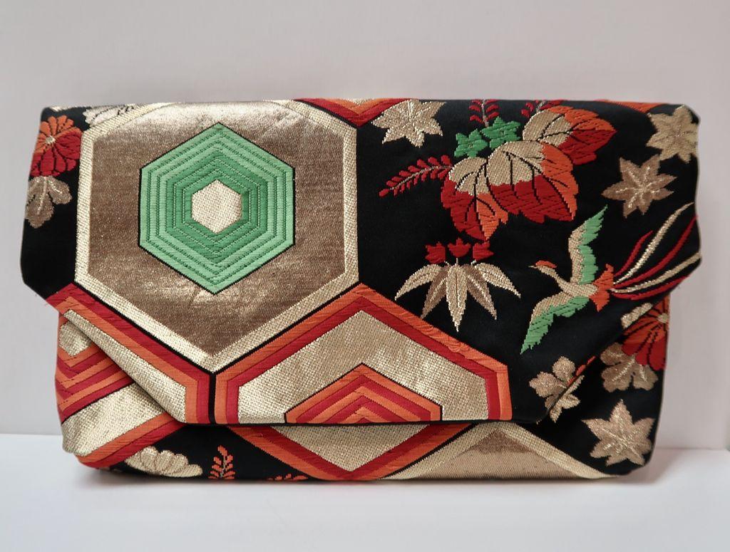 Leina Aonuma GOLD/GREEN/BURGUNDY GEOMETRIC AND FLOWERS: OBI CLUTCH