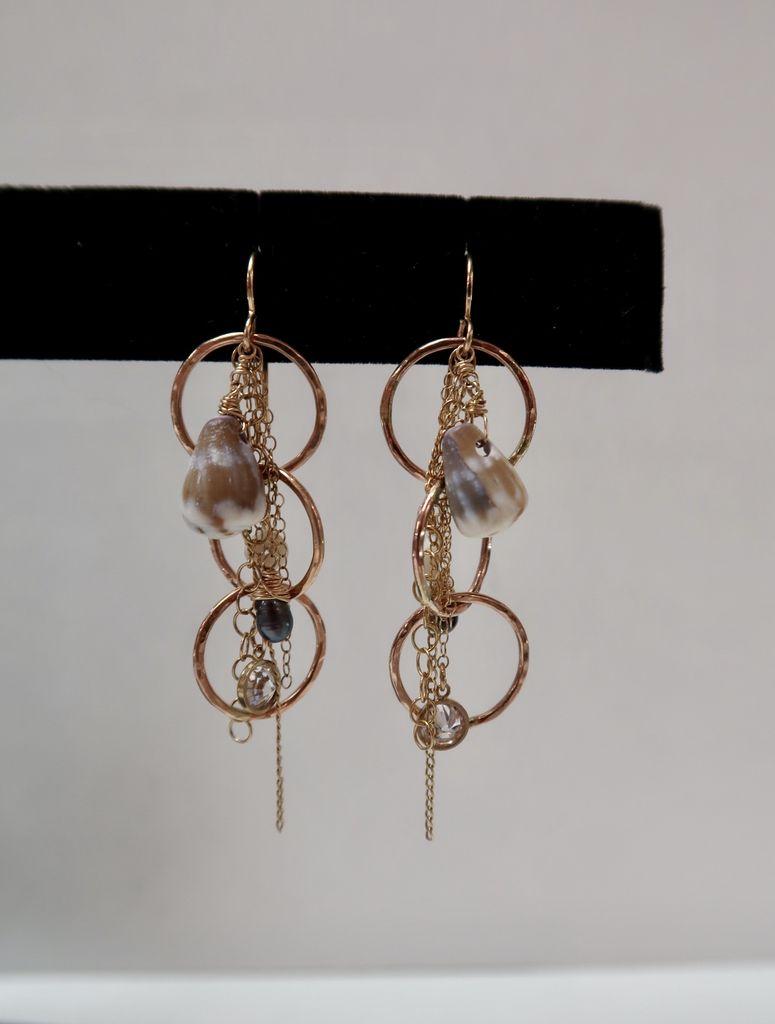 Laanei EARRINGS: Gold cascading hoops + shells