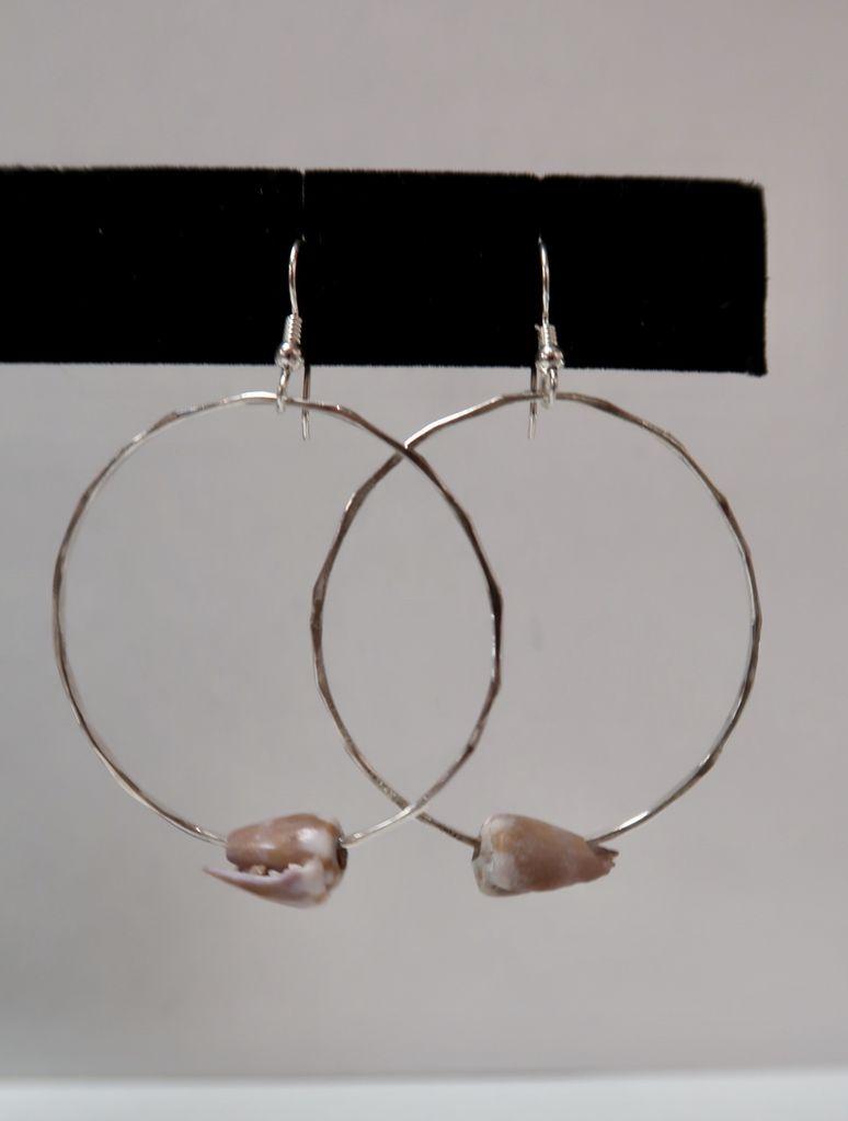 Laanei EARRINGS: Silver Shell Hoops
