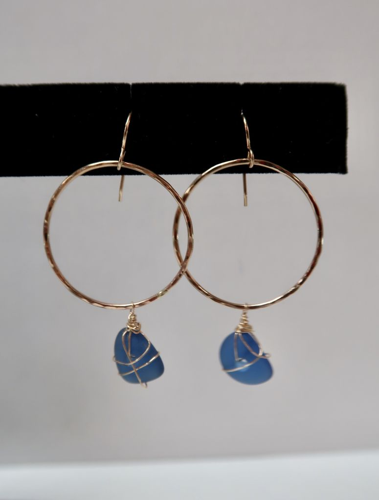 Laanei EARRINGS: Gold Small Hoops w/Glass
