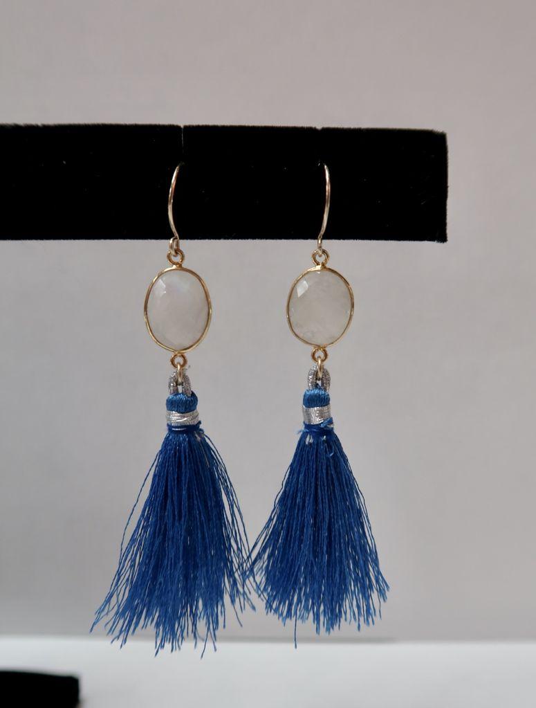 Leinai'a LLC Moon Stone Tassel Earrings