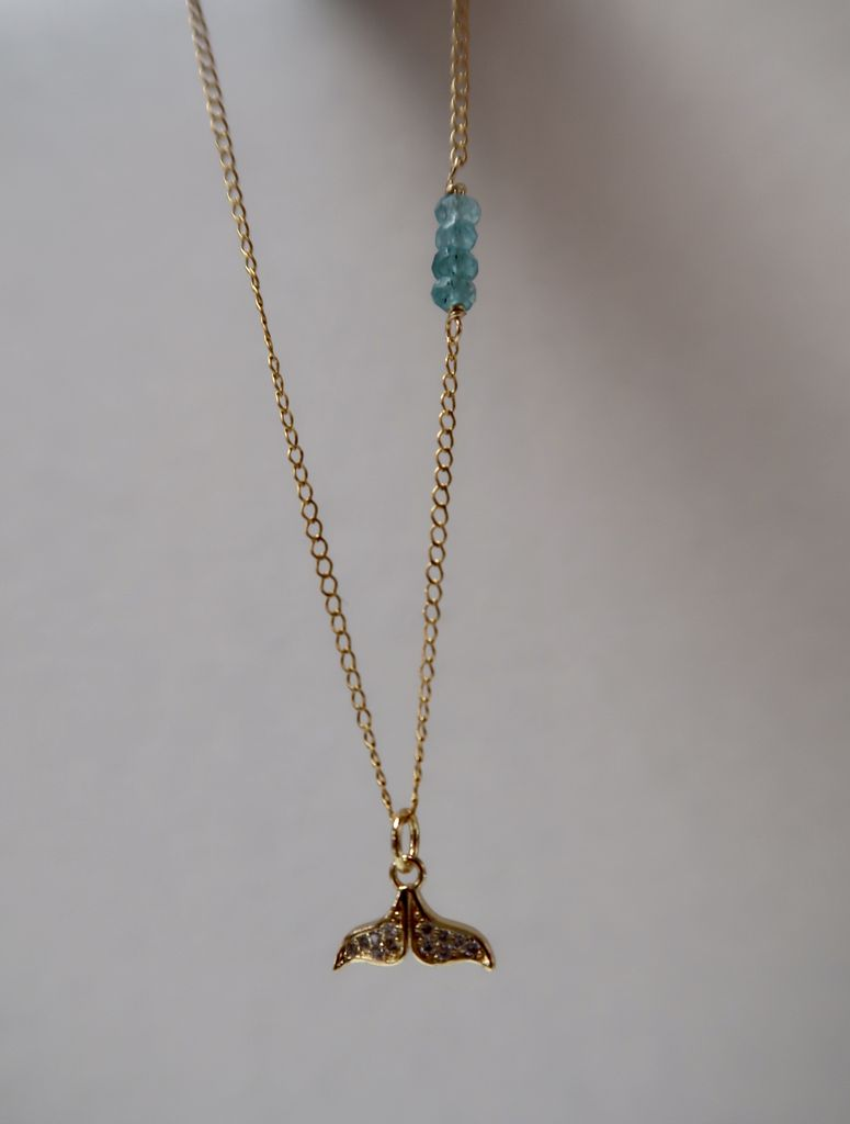 Rose Wong NECKLACE: GOLD FILL PAVE WHALE TAIL CHARM