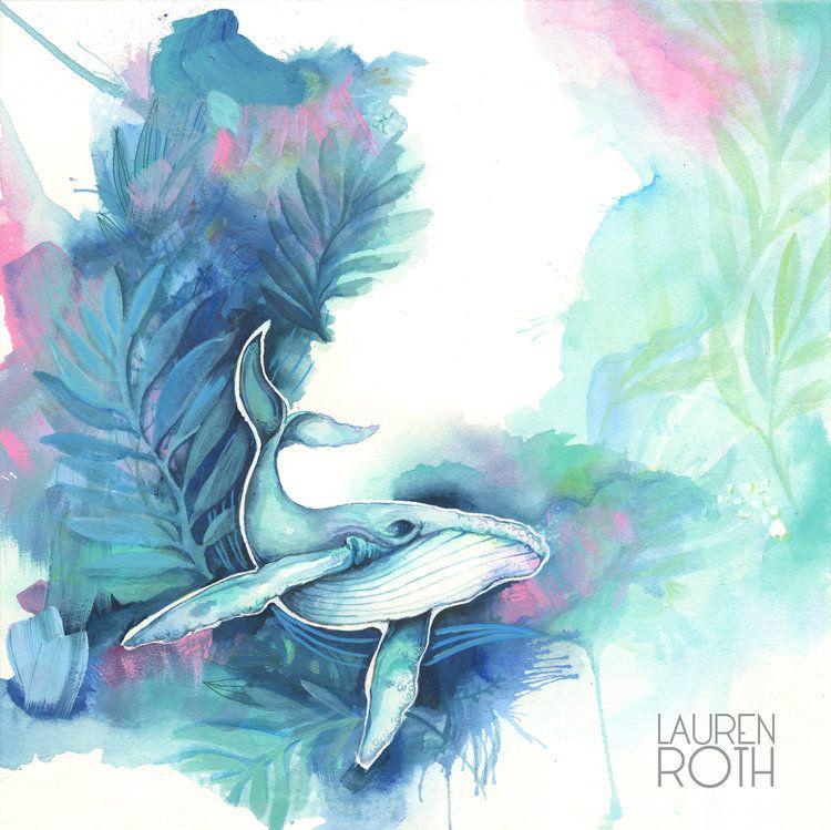 Lauren Roth GICLEE ON CANVAS- HUMPBACK BLUES-12X12