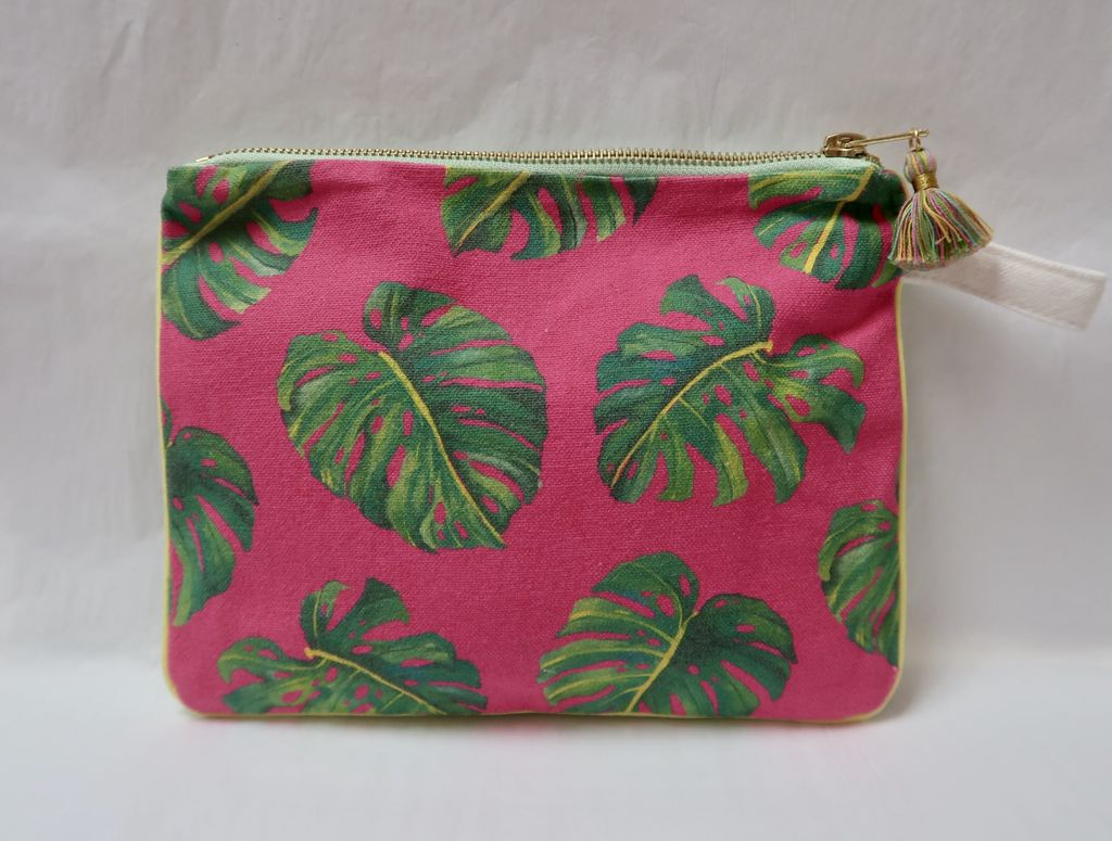 "Lauren Roth CLUTCH: PINK MONSTERA (approx. 7"" x 9"")"