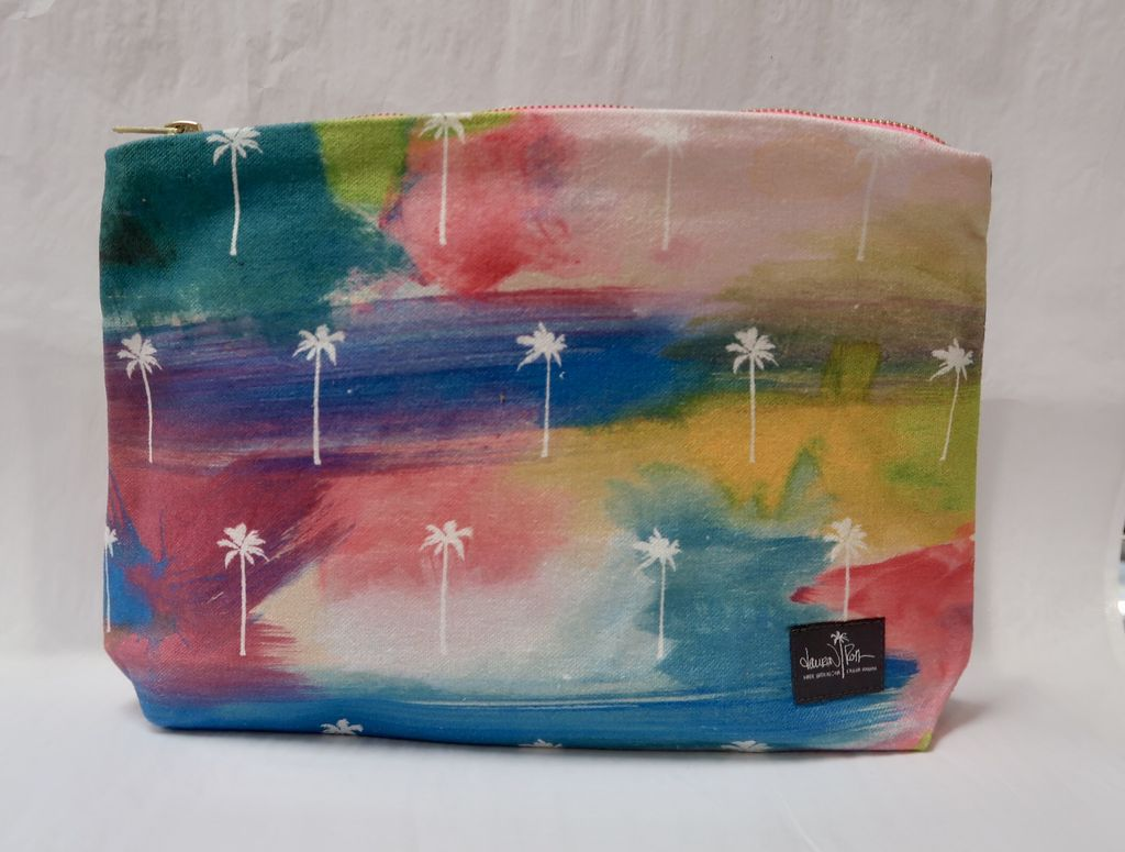 """Lauren Roth GUSSET CLUTCH: ABSTRACT HAWAII (approx. 9"""" x 11"""" with 2"""" gusset)"""