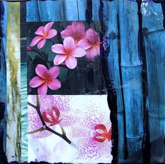 Susan Wickstrand 6X6 HAND-GLASSED ART: ORCHID & BAMBOO PARADISE