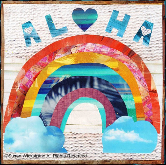 Susan Wickstrand 6X6 HAND-GLASSED ART: ALOHA RAINBOW
