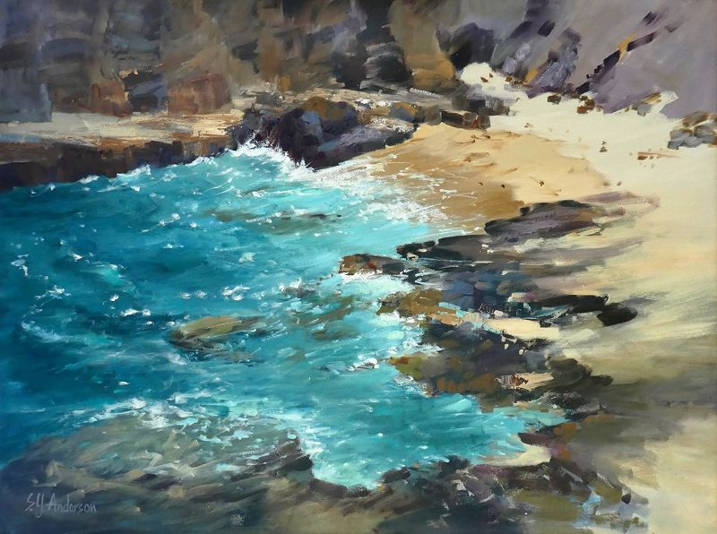 Susie Anderson WET SANDS OF HALONA 24X32 ORIGINAL OIL ON CANVAS, OUTER FRAME SIZE 31X39