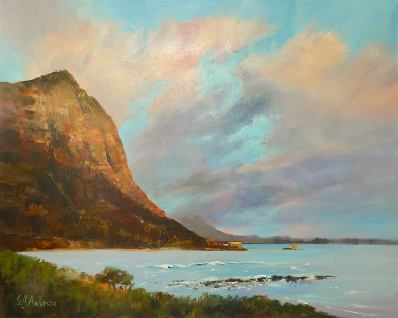 Susie Anderson GOOD MORNING MAKAPU'U, 24X30 ORIGINAL OIL ON CANVAS, OUTER FRAME SIZE 31X37