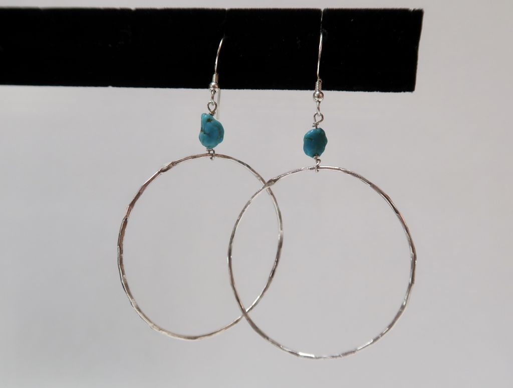 Rose Wong Earrings-SS Turquoise hoops