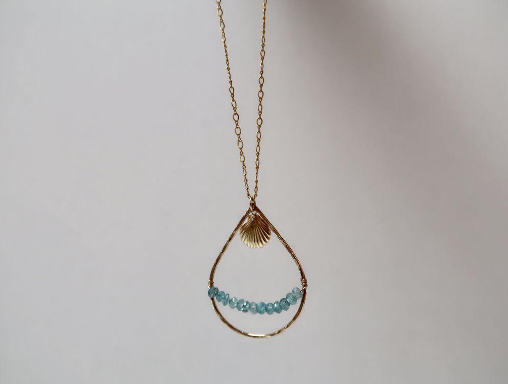 Rose Wong Necklaces-GF Teardrop Aquamarine & Shell charm
