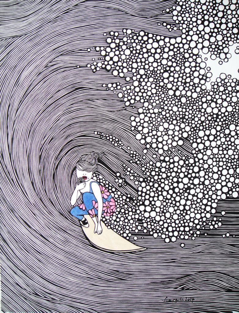 "Kris Goto ""Barrel"" - 16"" X 20"" Wrap Around Giclee Canvas Print"