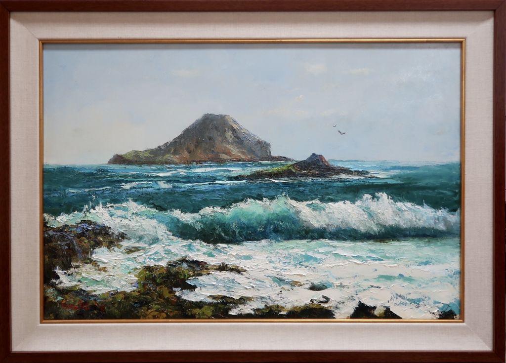 Ed Furuike MANANA AND MOKU MANU, MAKAPU'U, (RABBIT ISLAND AND BIRD ISLAND) 30X20 ORIGINAL PALETTE KNIFE OIL PAINTING