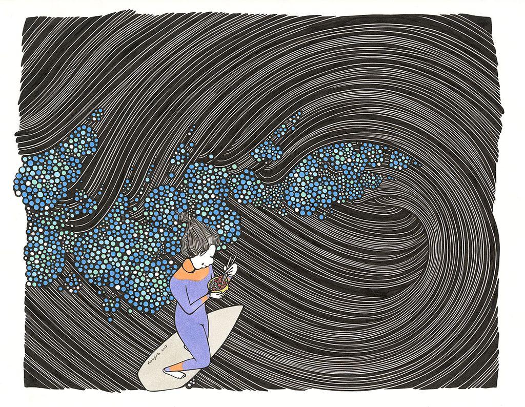 """Kris Goto Poke Bowl,  11""""x14"""" Matted Art Print"""