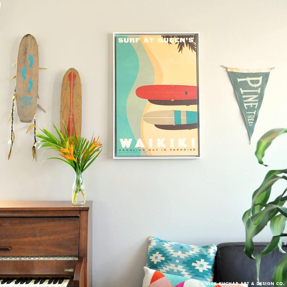 Nick Kuchar 16X24 FRAMED CANVAS PRINT: SURF AT QUEENS