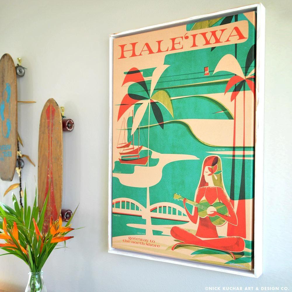 Nick Kuchar 16X24 FRAMED CANVAS PRINT: HALEIWA WAHINE - Magnolia