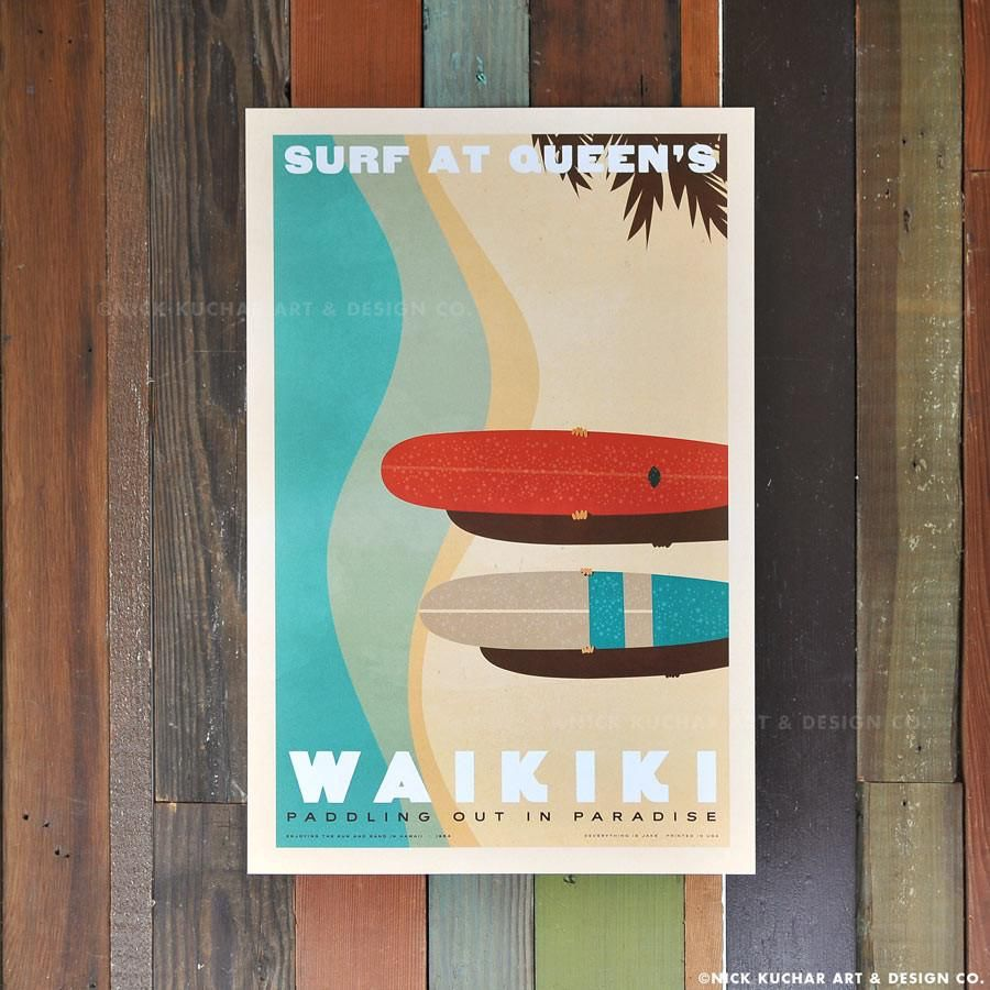 Nick Kuchar 12X18 RETRO HAWAII TRAVEL PRINT: SURF AT QUEENS