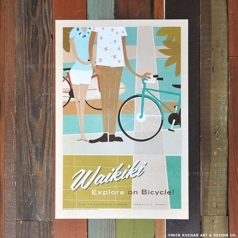 Nick Kuchar 12X18 RETRO HAWAII TRAVEL PRINT: WAIKIKI BIKES