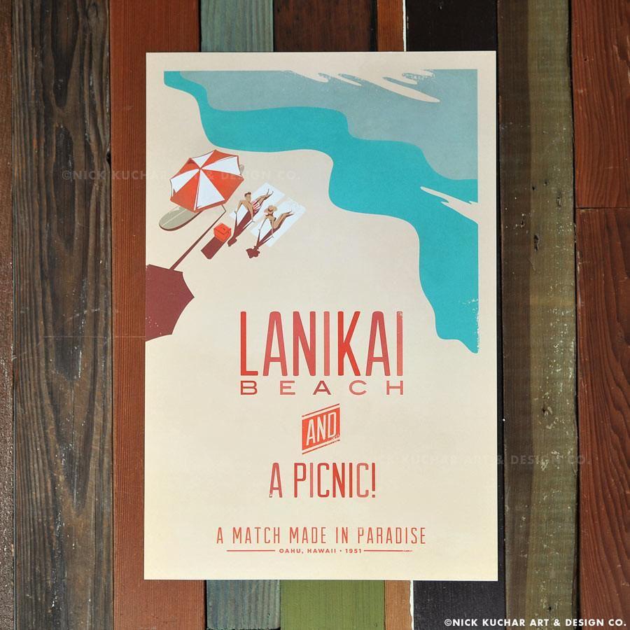 Nick Kuchar 12X18 RETRO HAWAII TRAVEL PRINT: LANIKAI