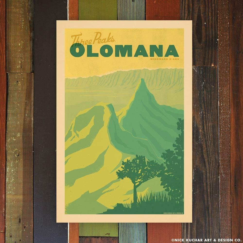 Nick Kuchar 12X18 RETRO HAWAII TRAVEL PRINT: OLOMANA
