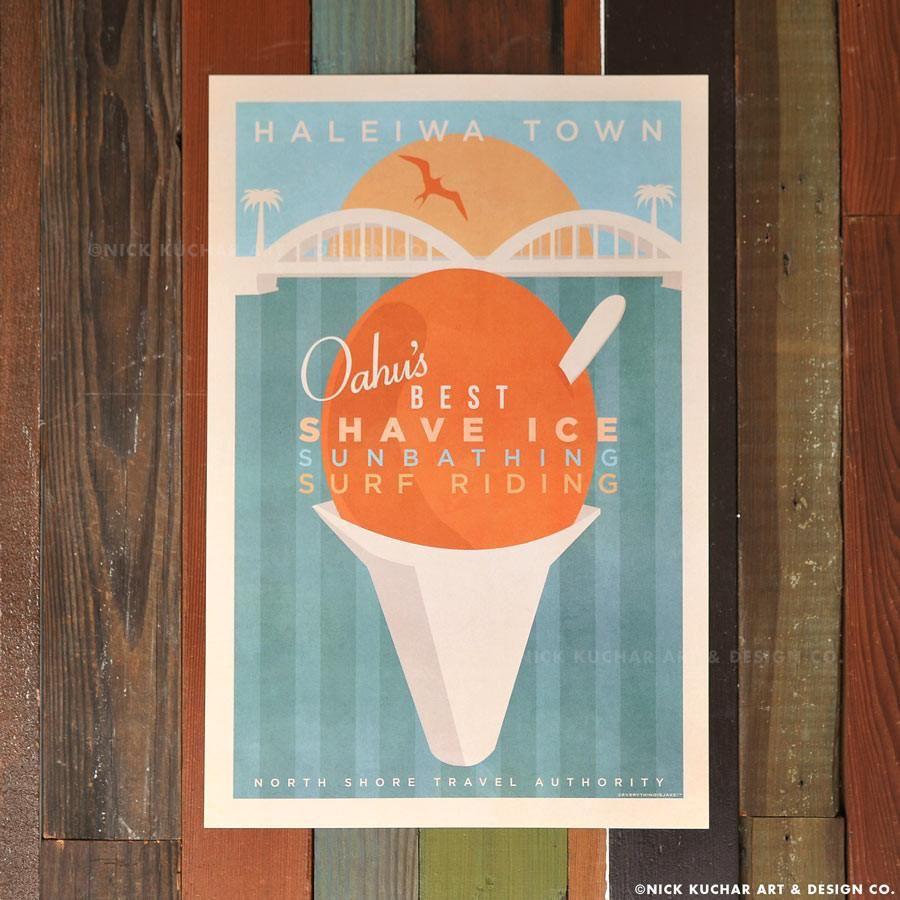 Nick Kuchar 12X18 RETRO HAWAII TRAVEL PRINT: HALEIWA SHAVE ICE